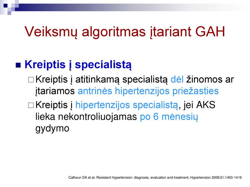 hipertenzijos gydymo algoritmas