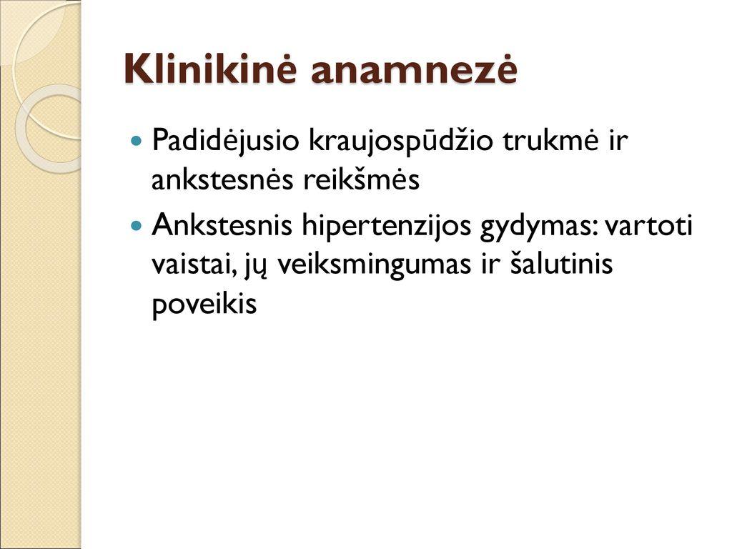 hipertenzijos anamnezės pavyzdys