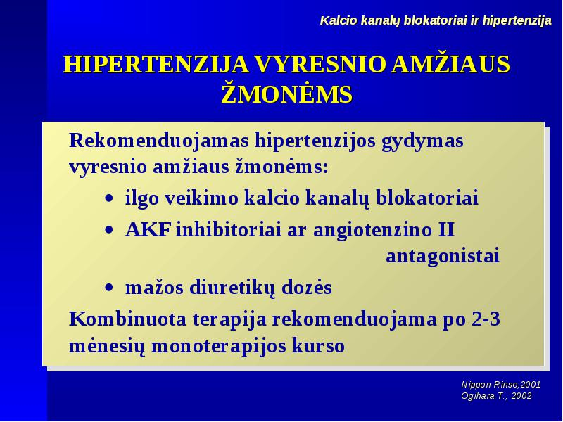hipertenzijos beta blokatorių gydymas